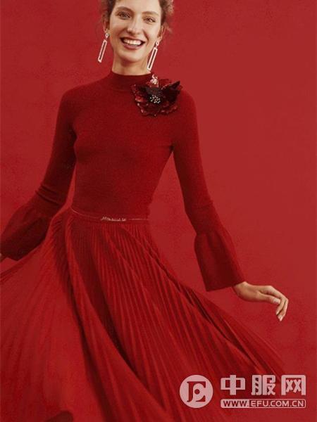 红贝缇女装2019红色连衣裙