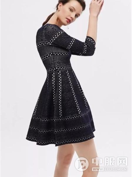红贝缇女装2019黑色连衣裙