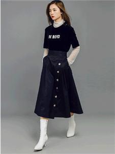 允硕2019秋冬款文艺A字半身裙