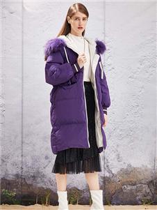 衣诗漫女装YOSUM2019新款紫色羽绒衣
