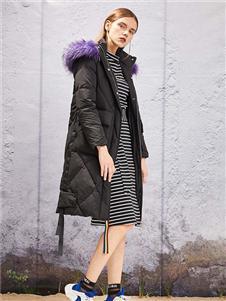 衣诗漫女装YOSUM2019新款黑色长款羽绒衣