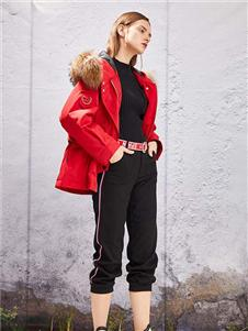 YOSUM2019新款红色毛领外套