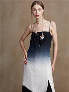 蓋婭傳說女裝2020春夏裝漸變吊帶裙子