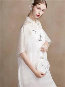 蓋婭傳說女裝2020春夏裝白色仙氣連衣裙