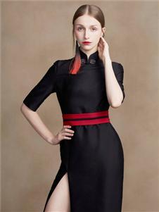 蓋婭傳說女裝2020春夏裝黑色高開叉連衣裙