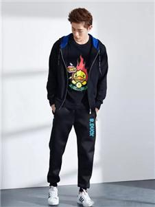 小黄鸭休闲装2019秋冬装黑色印花长袖