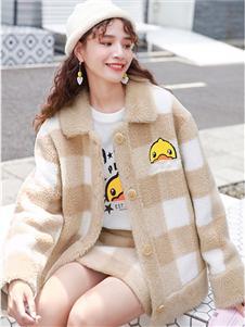 小黄鸭休闲装2019秋冬装简约格子外套