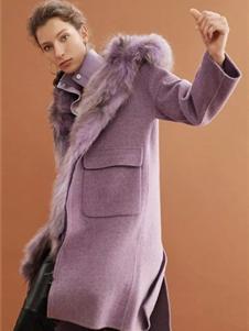 红贝缇女装2019紫色毛领大衣