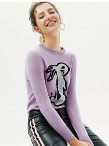 红贝缇女装2019紫色动物针织衫