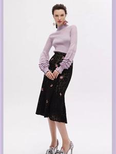 红贝缇女装2019紫色针织衫