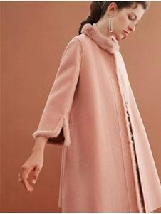 红贝缇女装2019粉色毛绒大衣