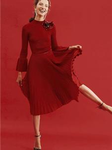 红贝缇女装2019红色长袖连衣裙