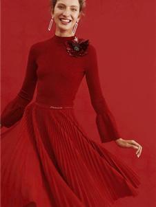 紅貝緹女裝2019紅色連衣裙