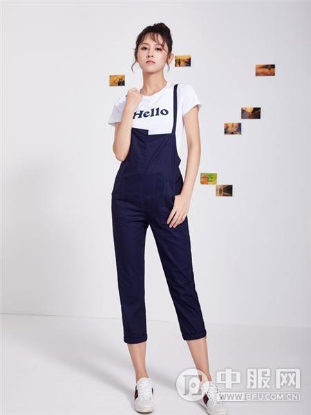 淑女日记2019春夏装蓝色背带裤