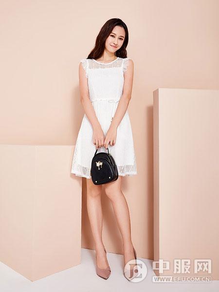 淑女日记2019春夏装白色连衣裙