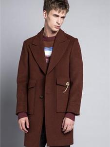 格度佐致2019咖色毛呢大衣