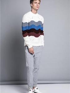 格度佐致2019波浪条纹针织衫