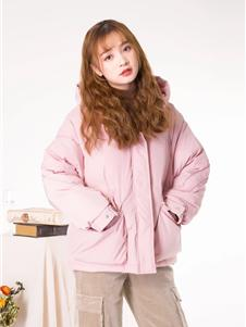 果一果女孩2019粉色羽絨衣