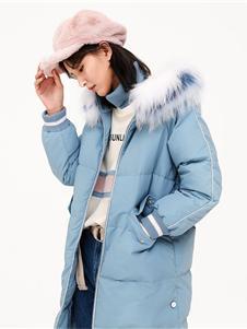 以纯2019秋冬蓝色毛领羽绒衣