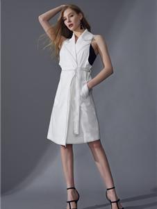 领姿女装领姿2019白色无袖连衣裙