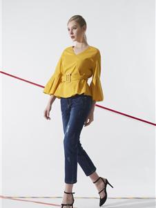 领姿女装领姿2019黄色上衣