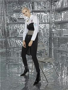 維斯提諾2019黑色拼接連衣裙