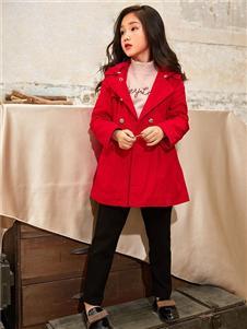 男生女生童装男生女生2019秋冬装红色大衣