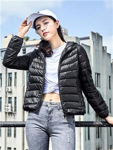鸭鸭2019秋冬装黑色羽绒衣