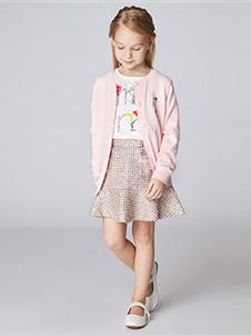 加比瑞2019秋冬裝粉色針織外套