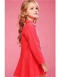 米奇丁當2019秋冬款紅色連衣裙