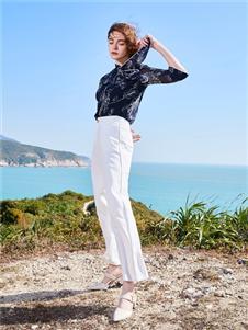 千桐女装新款白色休闲裤