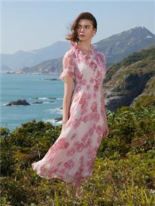 千桐女装新款气质印花裙
