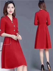 夺宝奇兵2020春新款红色裙子