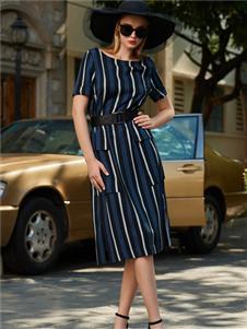 LEAGEL例格2020新款条纹连衣裙
