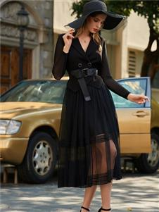 LEAGEL例格2020黑色优雅连衣裙