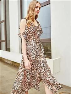 贝银女装BGV2019春夏新款气质豹纹连衣裙