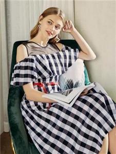 贝银女装BGV2019春夏新款格子连衣裙