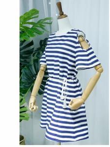 欧出色女装修身条纹连衣裙
