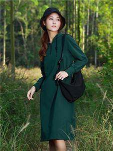 古树叶墨绿色连衣裙