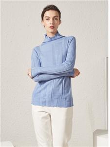 約布藍色高領針織衫