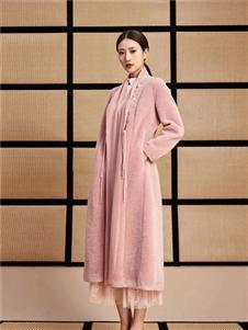 水墨生香粉色外套