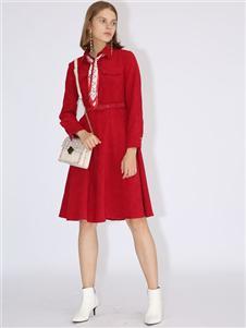 betu百图红色女裙