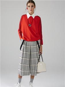 墨曲新款紅色上衣