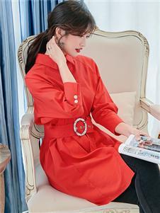 樣YANG新款紅色襯衫