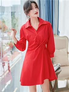樣YANG新款紅色連衣裙