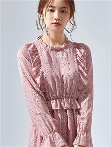 夏柏粉色连衣裙