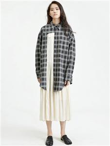 劉劉墨格子拼接連衣裙