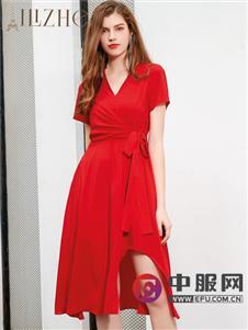 艾丽哲20春夏纯色时尚连衣裙