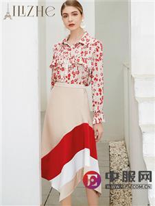 艾丽哲20春夏印花连衣裙