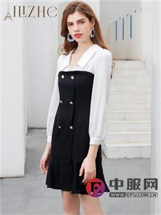 艾丽哲黑白拼接时尚修身连衣裙
